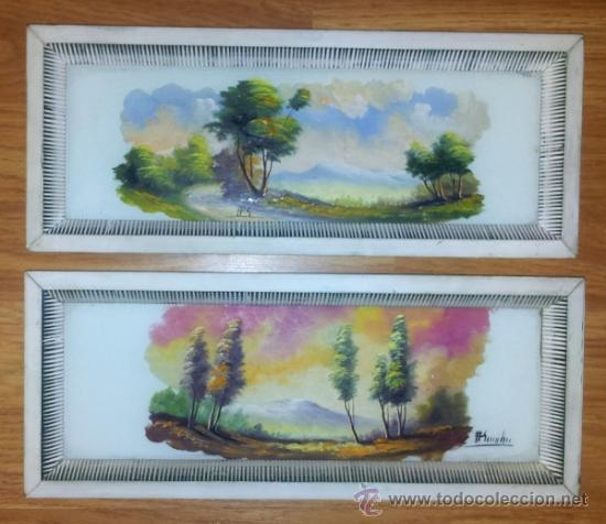 pareja de cuadros pintados sobre cristal motivo comprar On comprar cuadros bonitos