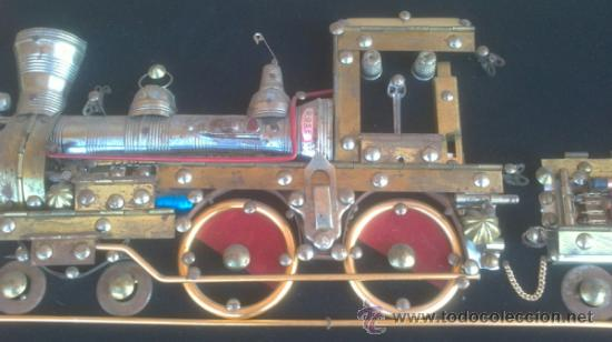 Vintage: DECORATIVO TREN REALIZADO ARTESANALMENTE CON MATERIALES AÑOS:50S - Foto 2 - 37860458