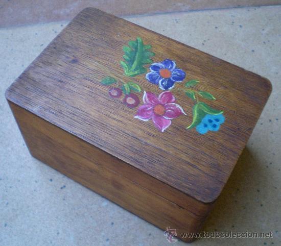 Caja cajita de madera con flores pintadas vint comprar - Cajitas de madera para decorar ...
