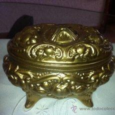 Vintage: COFRE DE ESTAÑO PINTADO EN COLOR DORADO. Lote 38691850