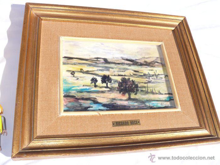Vintage: 2 cuadros cuadro pintura oleo aquarela mixto paisaje ricardo roca marco madera dorada - Foto 2 - 39802047