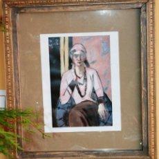 Vintage: MARCO CON MOLDURA EN CHOCOLATE DECAPADO CON LAMINA DE MAX BECK MANN TITULO QUAPPI CON SWEATER ROSA.. Lote 39887398