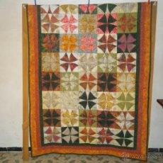 Vintage: COLCHA REALIZADA EN PATCHWORK COLORES OTOÑALES. Lote 40006887