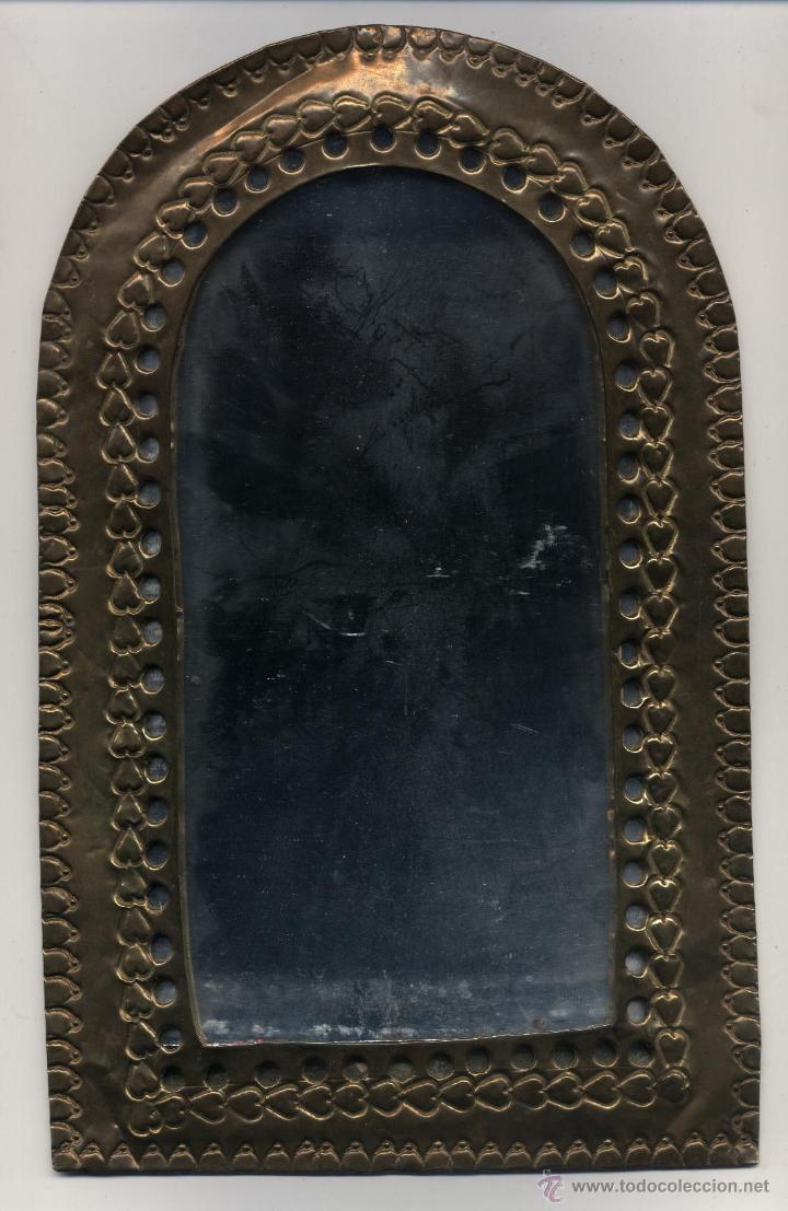 espejo enmarcado en latón. espejo: 20 cm de alt - Comprar en ...