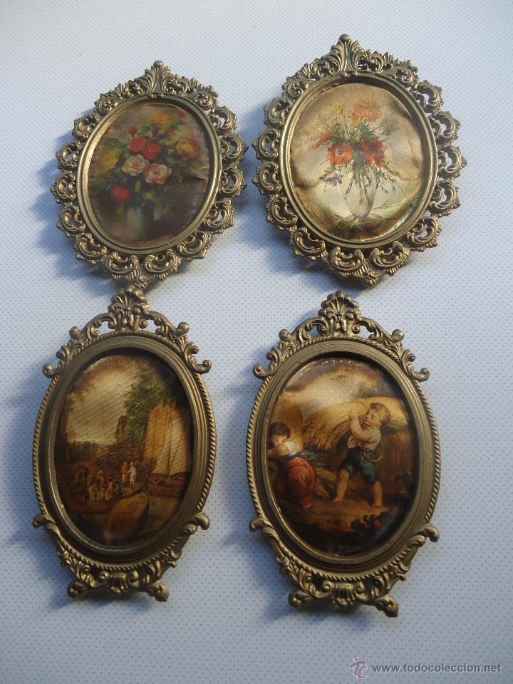 lote de cuatro cuadros de seda- marcos italiano - Comprar en ...