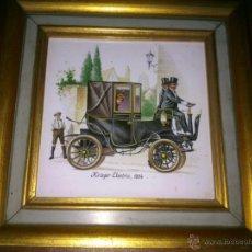Vintage: DECORATIVO AZULEJO ENMARCADO KRIEGER ELECTRIC 1904 AUTOMOVIL. Lote 40392331