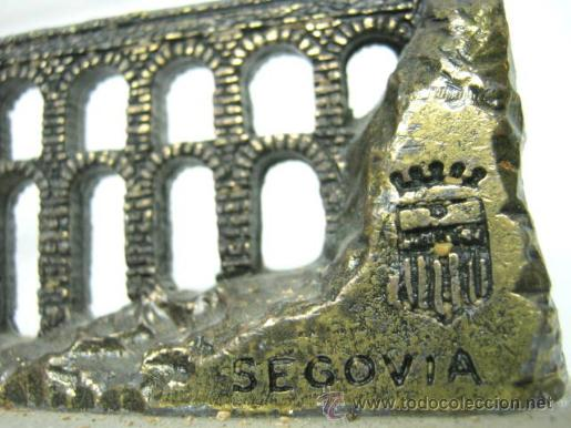 Vintage: PISAPAPELES VINTAGE AQUADUCTO DE SEGOVIA - METAL Y MARMOL - Foto 3 - 40662072