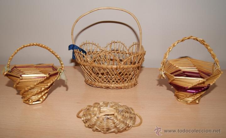 Lote 3 cestas peque as cesta de mimbre de 196 comprar - Cestas de mimbre pequenas ...
