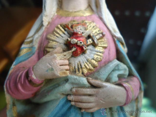 Vintage: 21 CM - MAGNIFICA VIRGEN CORAZON DE MARIA PASTA OLOT, ANTIGUA - Foto 2 - 41128578
