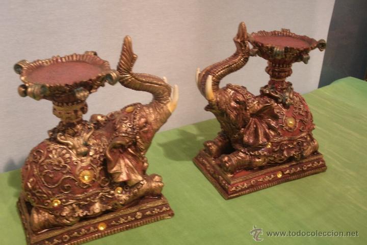 Exotica Pareja De Elefantes Hindues Para Sujeta Comprar En
