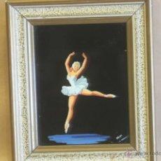 Vintage: CUADRO BAILARINA BALLET VINTAGE PINTADO SOBRE CRISTAL. Lote 41396856