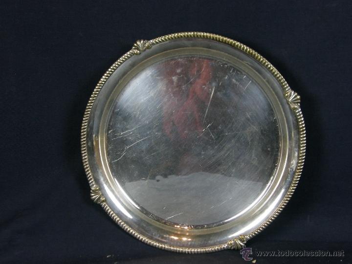 Vintage: bandeja centro de mesa de metal plateado filo decoración cuerda soga en relieve diámetro 27 cm - Foto 2 - 41419629