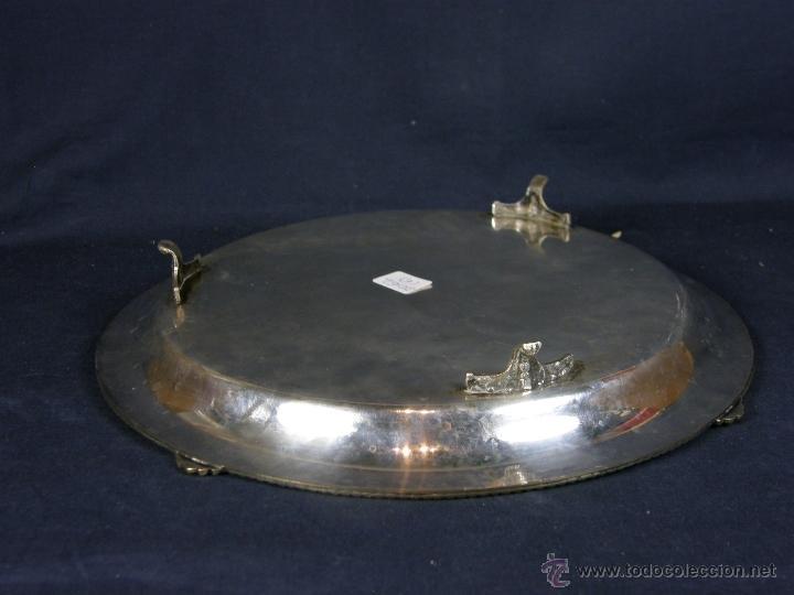 Vintage: bandeja centro de mesa de metal plateado filo decoración cuerda soga en relieve diámetro 27 cm - Foto 3 - 41419629