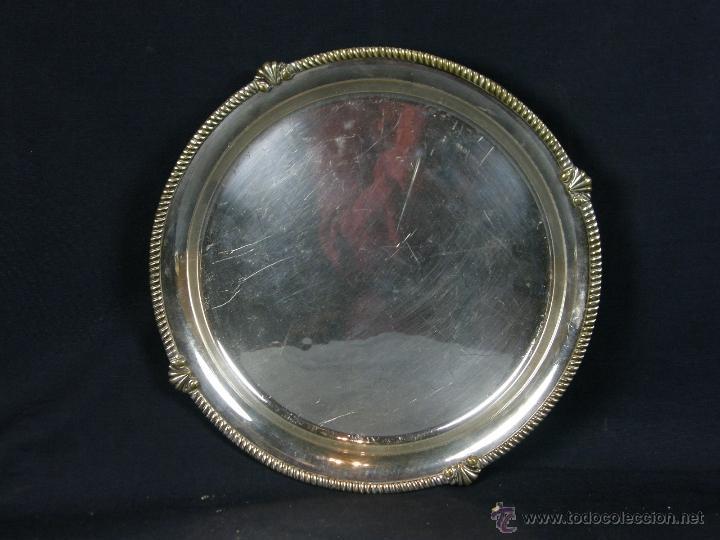 Vintage: bandeja centro de mesa de metal plateado filo decoración cuerda soga en relieve diámetro 27 cm - Foto 4 - 41419629