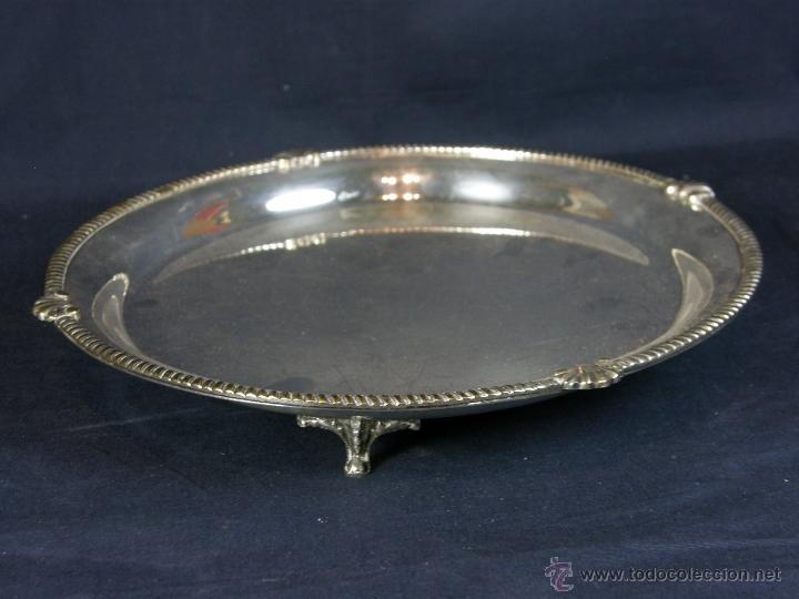 Vintage: bandeja centro de mesa de metal plateado filo decoración cuerda soga en relieve diámetro 27 cm - Foto 5 - 41419629
