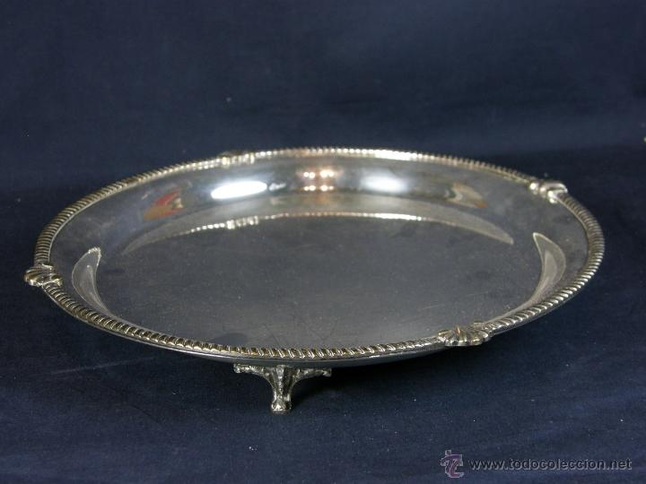 Vintage: bandeja centro de mesa de metal plateado filo decoración cuerda soga en relieve diámetro 27 cm - Foto 10 - 41419629