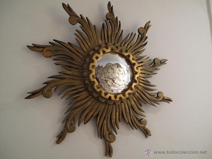 original espejo sol madera con luna convexa