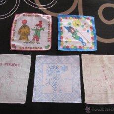 Vintage: LOTE 5 PAÑUELO INFANTIL PITUFOS, POPEYE, LULU, LA BRUJA NOVATA, … AÑOS 70/80. Lote 42455621