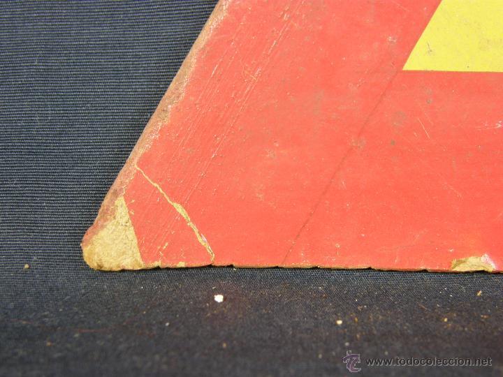 Vintage: antigua señal de autoescuela peligro curvas fondo amarillo sobre madera 1º mitad siglo XX - Foto 5 - 42475763