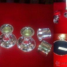 Vintage: 2 CANDELABROS Y 4 SERVILLETEROS SILVER PLATED NUEVOS EN SU CAJA. Lote 42531833