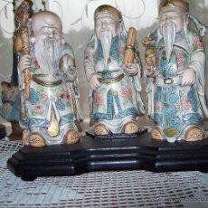 Vintage: 3 NETSUKES SOBRE PEANA. Lote 42567897