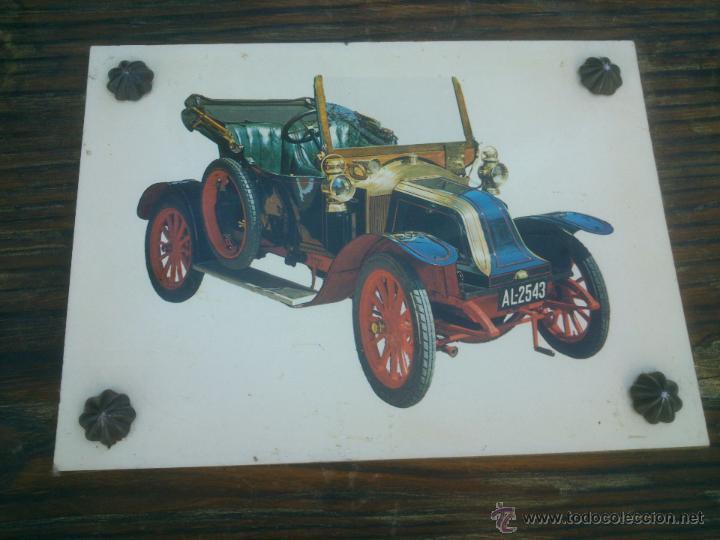 Vintage: COLECCION LAMINAS COCHES ANTIGUOS DE EPOCA SOBRE BASE DE MADERA - Foto 3 - 42581772
