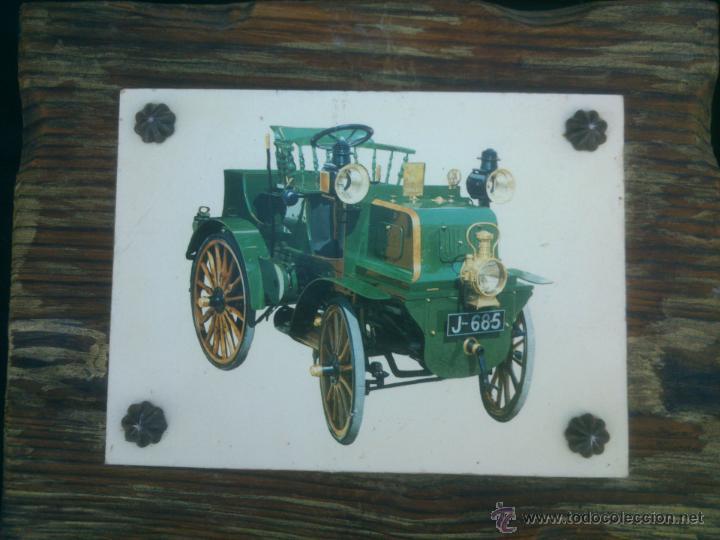 Vintage: COLECCION LAMINAS COCHES ANTIGUOS DE EPOCA SOBRE BASE DE MADERA - Foto 5 - 42581772