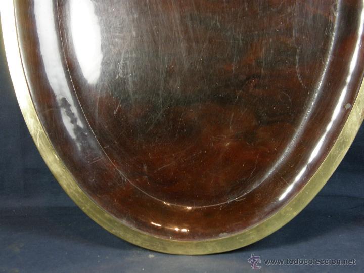 Vintage: bandeja vintage oval simil carey borde latón años 70 - 80 2,5x59x41cms - Foto 13 - 42752007