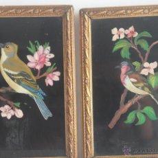 Vintage: PAJARITOS PINTADOS EN CRISTAL. Lote 42787814