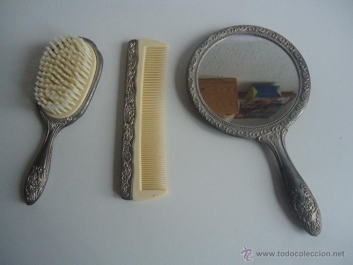 antiguo set de tocador peine cepillo y espejo comprar