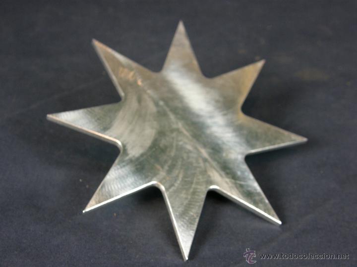 Vintage: soporte porta velas velon cirio metal blanco recortado Estrella círculos y octógonos diámetro 16 cm - Foto 2 - 43361402