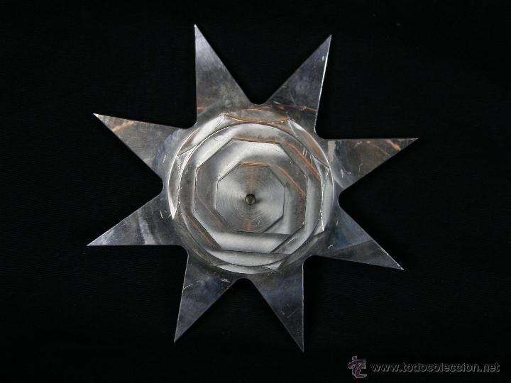 Vintage: soporte porta velas velon cirio metal blanco recortado Estrella círculos y octógonos diámetro 16 cm - Foto 3 - 43361402