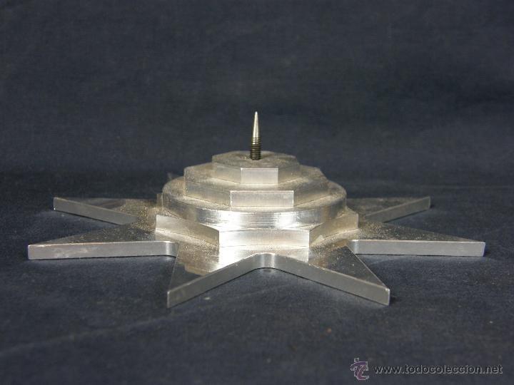Vintage: soporte porta velas velon cirio metal blanco recortado Estrella círculos y octógonos diámetro 16 cm - Foto 4 - 43361402