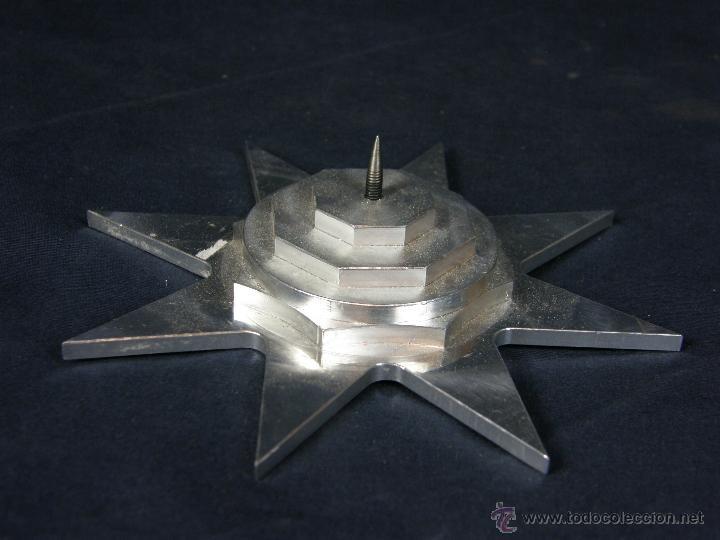 Vintage: soporte porta velas velon cirio metal blanco recortado Estrella círculos y octógonos diámetro 16 cm - Foto 5 - 43361402