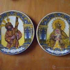 Vintage: PRECIOSA PAREJA DE PLATOS VIRGEN DE LA ESPERANZA MACARENA Y CRISTO DEL GRAN PODER FABRICADO ESPAÑA . Lote 43402142