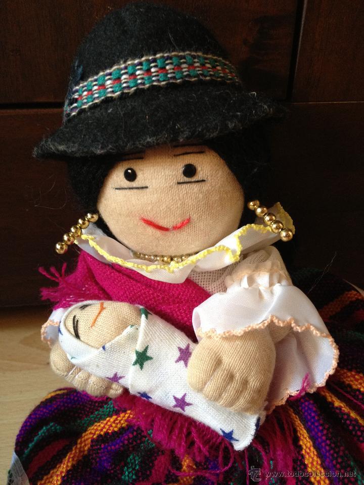 Vintage: Preciosa Muñeca con bebé Indígena de la Serranía de Ecuador, totalmente ARTESANAL - Foto 2 - 43444661