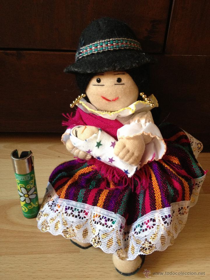 Vintage: Preciosa Muñeca con bebé Indígena de la Serranía de Ecuador, totalmente ARTESANAL - Foto 3 - 43444661
