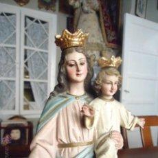 Vintage: IMAGEN 31 CM ANTIGUA VIRGEN MARIA AUXILIADORA CON NIÑO JESUS - OJO CRITAL - OLOT , TIENDA ANTIGUA . Lote 41129662