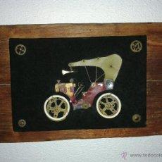 Vintage: PRECIOSO CUADRO CON COCHE DE EPOCA HECHO CON PIEZAS DE RELOJ. Lote 43933816