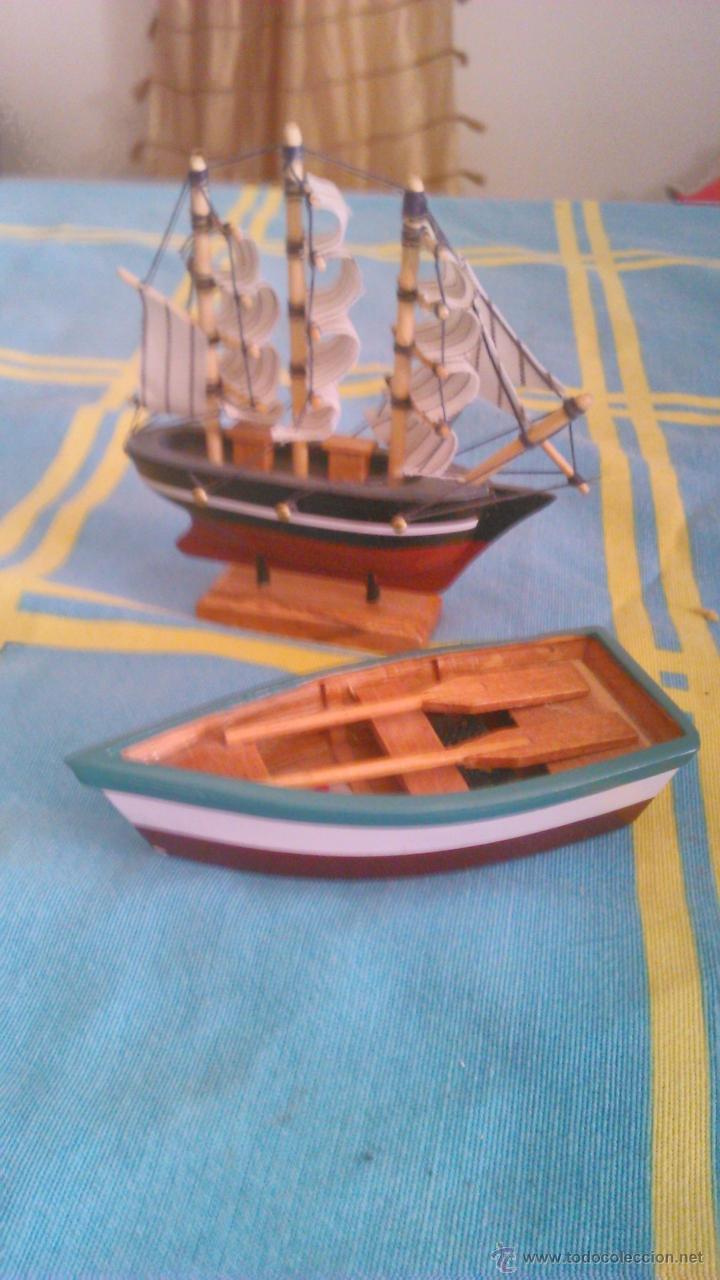 lote de dos barcos de madera tamao pequeo para decoracin o vitrina