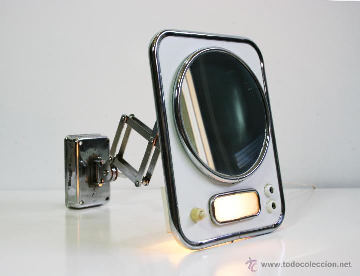 espejo de tocador de aumento con luz y extensible con sistema de tijera aos