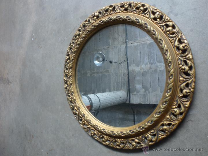 Espejo redondo en yeso dorado comprar en todocoleccion for Espejo redondo vintage