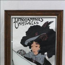 Vintage: CUADRO / ESPEJO CON IMAGEN MODERNISTA / ART NOUVEAU. LOTHOGRAPHIES ORIGINALES - MEDIDAS 31 X 23,5 CM. Lote 44397788