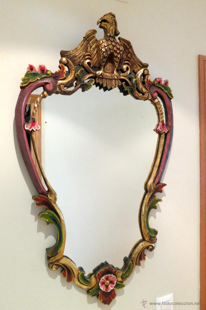 majestuoso espejo vintage madera policromada ág - Comprar en ...