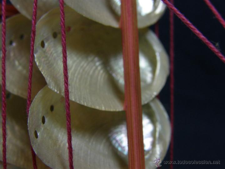 Vintage: barquito barco velero de conchas y madera recuerdo filipinas mitad siglo XX - Foto 9 - 44708587