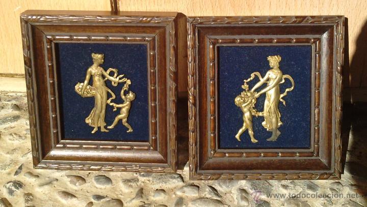 Vintage: Lote dos Cuadritos con figuras metalicas en relieve. Años 70 - Foto 2 - 44889241
