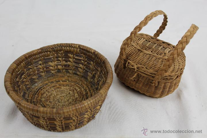 Pareja de cestas peque as hechas en mimbre me comprar - Cestas de mimbre pequenas ...
