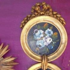 Vintage: FANTASTICO CONJUNTO 2 PINTURA OLEO EN MADERA DORADA ESTILO IMPERIO IDEAL COMPOSICIONES ESPEJO. Lote 45098085