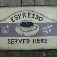 Vintage: CUADRO ORIGINAL VINTAGE CAFE ESPRESSO PINTURA SOBRE MADERA IDEAL CAFETERIAS Y HORNOS VINTAGE. Lote 45107999