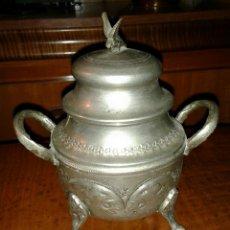 Vintage: ANTIGUO AZUCARERO DE METAL CON BAÑO PLATEADO. Lote 50926942